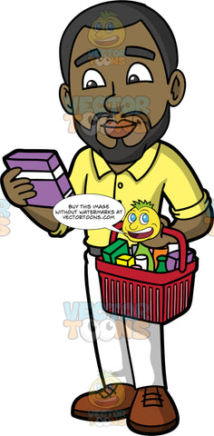 Calvin Checking The Ingredients On A Box Of Cereal. A black man with a beard, wearing white pants, a yellow button down shirt, and brown shoes, holding a basket filled with groceries in one hand, and a box of cereal in the other