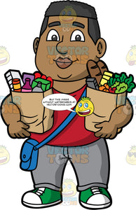 James Holding Two Bags Of Groceries. A black man wearing gray pants, a red shirt, green and white sneakers, and a blue satchel, carrying a paper bag filled with a variety of groceries in each arm