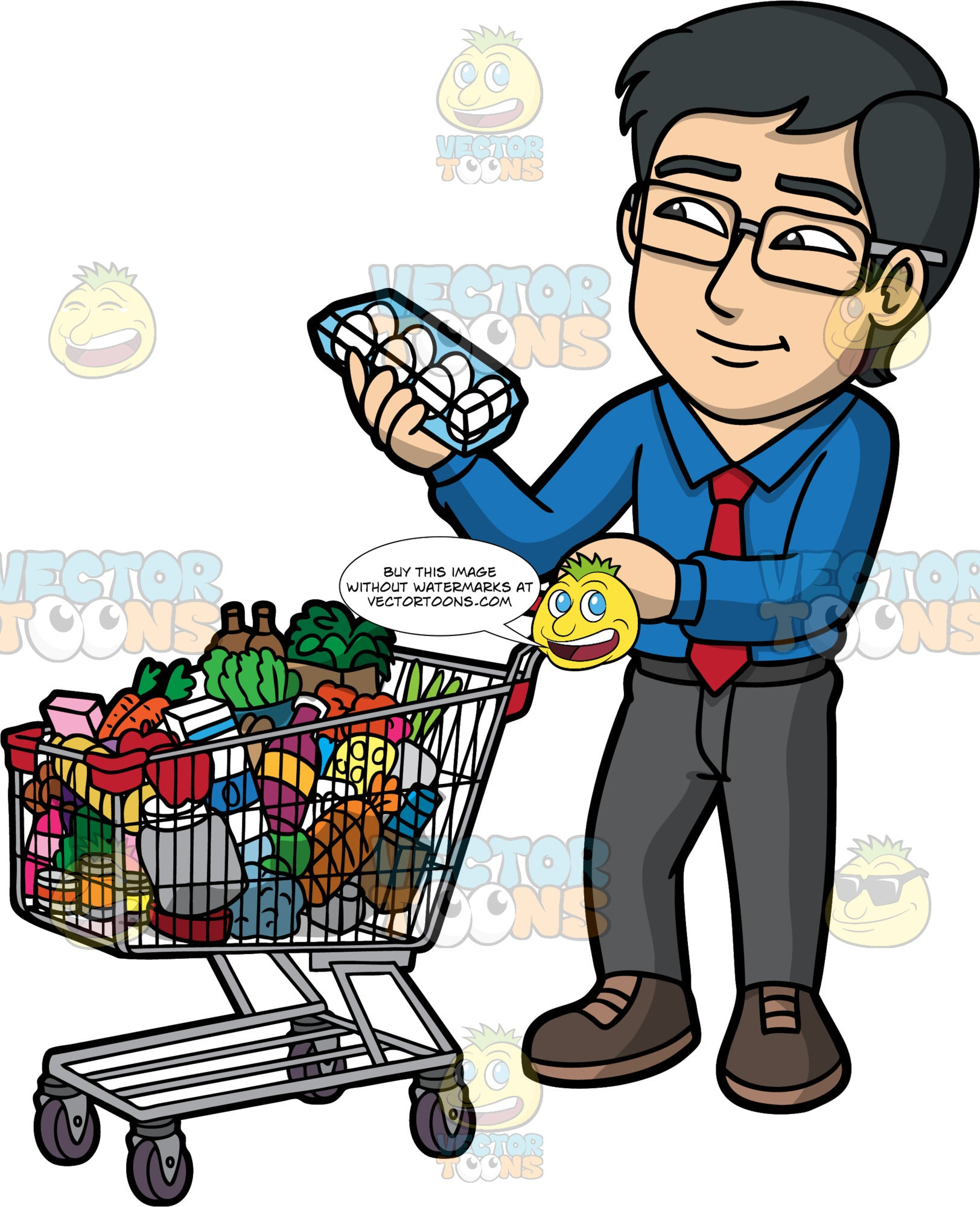 Simon Grabbing A Box Of Eggs To Put In His Shopping Cart. An Asian man wearing dark gray pants, a blue dress shirt, a red tie, brown shoes, and eyeglasses, holding a package of eggs so that he can put them in his cart filled with various groceries