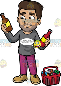 Gabriel Deciding Which Sauce To Buy. A Hispanic man with dark brown hair, wearing purple pants, a gray shirt, and brown boots, holding a red bottle in one hand, and a brown bottle in the other, and thinking about which one to buy. A basket filled with groceries sits on the floor next to him