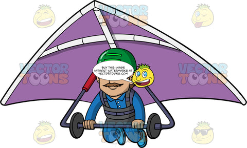A Man Getting Ready To Land A Hang Glider. A man wearing a green helmet and blue jumpsuit, hangs onto the bar of a purple hang glider that he is strapped into