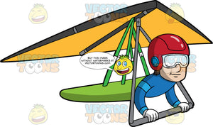 A Man Soaring Through The Skies On An Orange Hang Glider. A man wearing a red helmet, eye goggles and blue jumpsuit, piloting an orange hang glider that he is strapped into