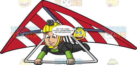 A Man Gliding Through The Air On His Hang Glider . A man wearing a yellow helmet with a camera attached to it, steers the red and white hang glider that he is strapped into