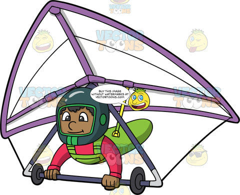 A Black Man Having Fun Piloting A Hang Glider. A black man wearing a full face green helmet, strapped into a white and purple hang glider, smiles as he soars through the air