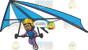 A Black Man Preparing To Land His Hang Glider. A black man wearing an orange and yellow helmet, and purple jumpsuit, lowers his legs as he prepares to land the blue and white hang glider he is flying