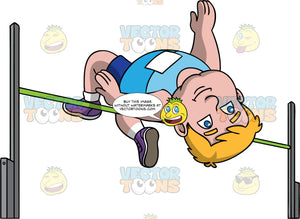 Sam Jumping Over A High Jump Bar. A chubby man wearing dark blue shorts, a sky blue shirt, and purple running shoes, falls backwards over a high jump bar as he tries to clear it