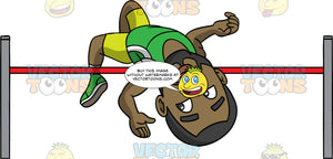 Calvin Throwing His Body Over A High Jump Bar. A black man with a beard wearing lime green shorts, a green tank top, and green running shoes, jumping over a high jump bar