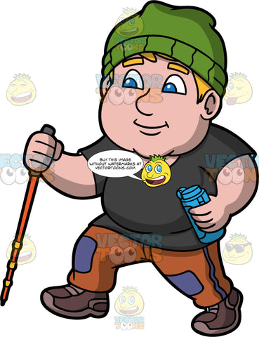 Sam Walking Along A Trail. A chubby man wearing brown pants, a black t-shirt, brown walking shoes, and a green hat, holding a water bottle in one hand, and a walking pole in the other while out on a hike
