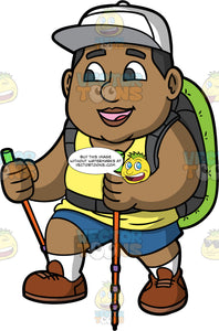 James Enjoying A Hike On A Nice Day. A chubby black man wearing blue shorts, a yellow tank top, brown walking shoes, a green backpack, and a white hat, smiles while using walking poles during a hike