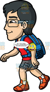Simon Hiking On A Summer Day. An Asian man wearing gray shorts, a red t-shirt, brown walking shoes, a blue backpack, and eyeglasses, walking along a hiking trail