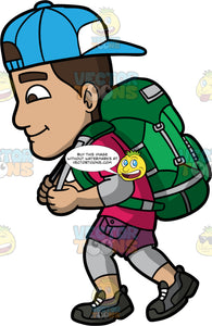 Gabriel Going For A Hike. A Hispanic man wearing gray leggings under purple shorts, a pink t-shirt, green backpack, dark gray hiking shoes, and a blue baseball cap on backwards, concentrating while climbing up a hill