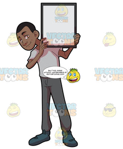 A Black Guy Holding A Signboard