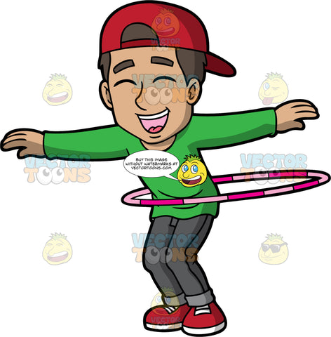 A Delighted Man Twirling A Hula Hoop. A man with dark brown hair, wearing a reversed red cap, green sweatshirt, dark gray pants, red with white shoes, shuts his eyes and smiles in delight, as he lifts his arms sideways while twirling a two tone pink hula hoop around his waist