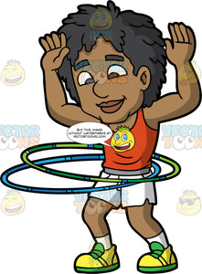 A Black Man Twirling Hula Hoops. A black man with curly hair, wearing an orange tank top, white shorts, gray belt, white socks, yellow with green shoes, raises his arms and smiles while twirling two hula hoops in green and blue around his waist
