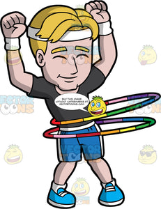 A Happy Athletic Man Twirling Hula Hoops. A man with blonde hair, wearing a white bandana, wrist bands, black shirt, blue with white shorts, white socks, sky blue and white shoes, shuts his eyes and smiles in delight while lifting his arms as he twirls two colorful hula hoops around his waist
