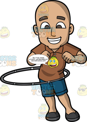 A Bald Man Twirling A Hula Hoop. A bald man wearing a brown polo shirt, dark blue denim shorts, black shoes, grins while twirling a gray hula hoop around his waist