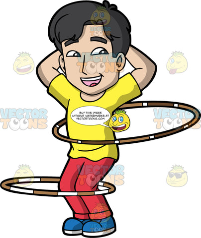 A Joyful Guy Twirling Hula Hoops. A man with black hair, wearing a yellow shirt, red pants, blue shoes, smiles and places his hands behind his head, as he twirls two brown and white hula hoops around his waist and leg