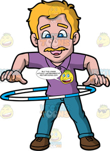 A Happy Adult Guy Twirling A Hula Hoop. A man with blonde hair and mustache, wearing a purple polo shirt, teal pants, brown shoes, smiles while twirling a blue and white hula hoop around his waist