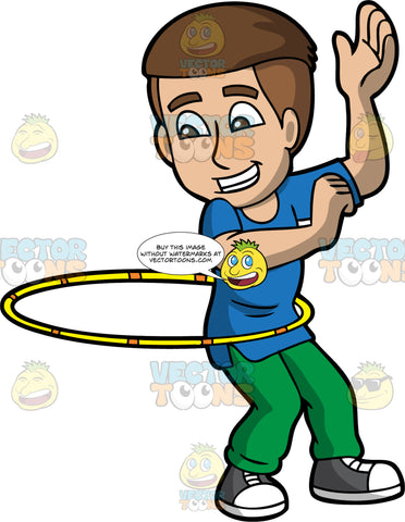 A Happy Man Twirling A Hula Hoop. A man with brown hair, wearing a blue shirt with green pants, black and white sneakers, grins while twirling a yellow and orange hula hoop around his waist