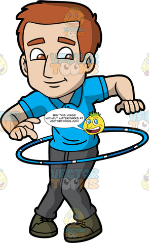 A Charming Guy Twirling A Hula Hoop. A man with reddish brown hair, wearing a blue polo shirt, dark gray pants, dark olive green shoes, smiles while twirling a blue with white hula hoop around his waist