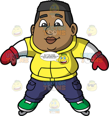 James Learning How To Ice Skate. A black man wearing blue cargo pants, a yellow vest over a long sleeve white shirt, red mittens, and green ice skate, trying to stay balanced while learning how to skate