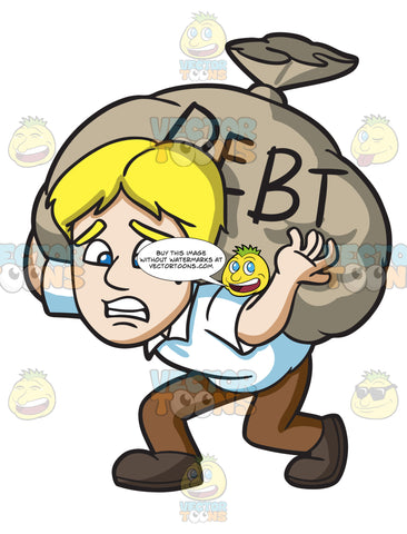 A Man Carrying A Heavy Sack Of Debt