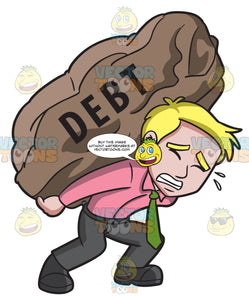 A Man Carrying A Huge Rock Of Debt