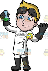 Matthew Dressed Up As A Mad Scientist. A man wearing a long white buttoned up coat, black rubber boots over white pants, black rubber gloves, and black goggles on his head, standing and holding a beaker filled with green liquid in his hand