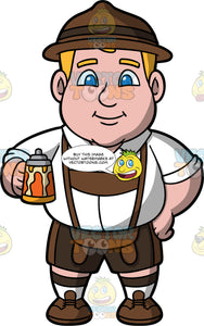 Sam Dressed In An Oktoberfest Costume. A chubby man wearing brown shorts, a white shirt, brown lederhosen, brown shoes, and a brown Oktoberfest hat, standing and holding a beer in his hand
