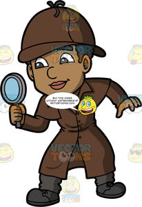 Jimmy Dressed Up As A Detective. A black man wearing dark gray pants, a long brown coat, a brown tie, and brown hat, holding a magnifying glass in his hand and looking through it