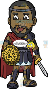 Calvin Dressed As A Gladiator. A black man with a beard, wearing a Roman gladiator Halloween costume, and holding a shield in one hand and a sword in the other