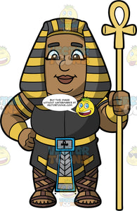 James Dressed Up As An Egyptian Pharaoh. A black man wearing a black tunic with gold belt, brown sandals, and a black and gold headdress, standing and holding a gold Egyptian staff in his hand