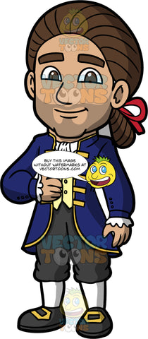 Gabriel Dressed Up As A Colonial Aristocrat. A Hispanic man wearing dark gray three quarter length pants, white tights, black with gold shoes, a yellow vest over a white shirt, a dark blue long dress coat, and a brown wig tied back with a red bow