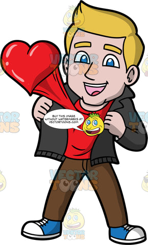 Matthew Deeply In Love. A man with dirty blonde hair wearing brown pant, a red shirt, blue and white sneakers, and a black jacket, holding his jacket open to show his heart leaping from his chest