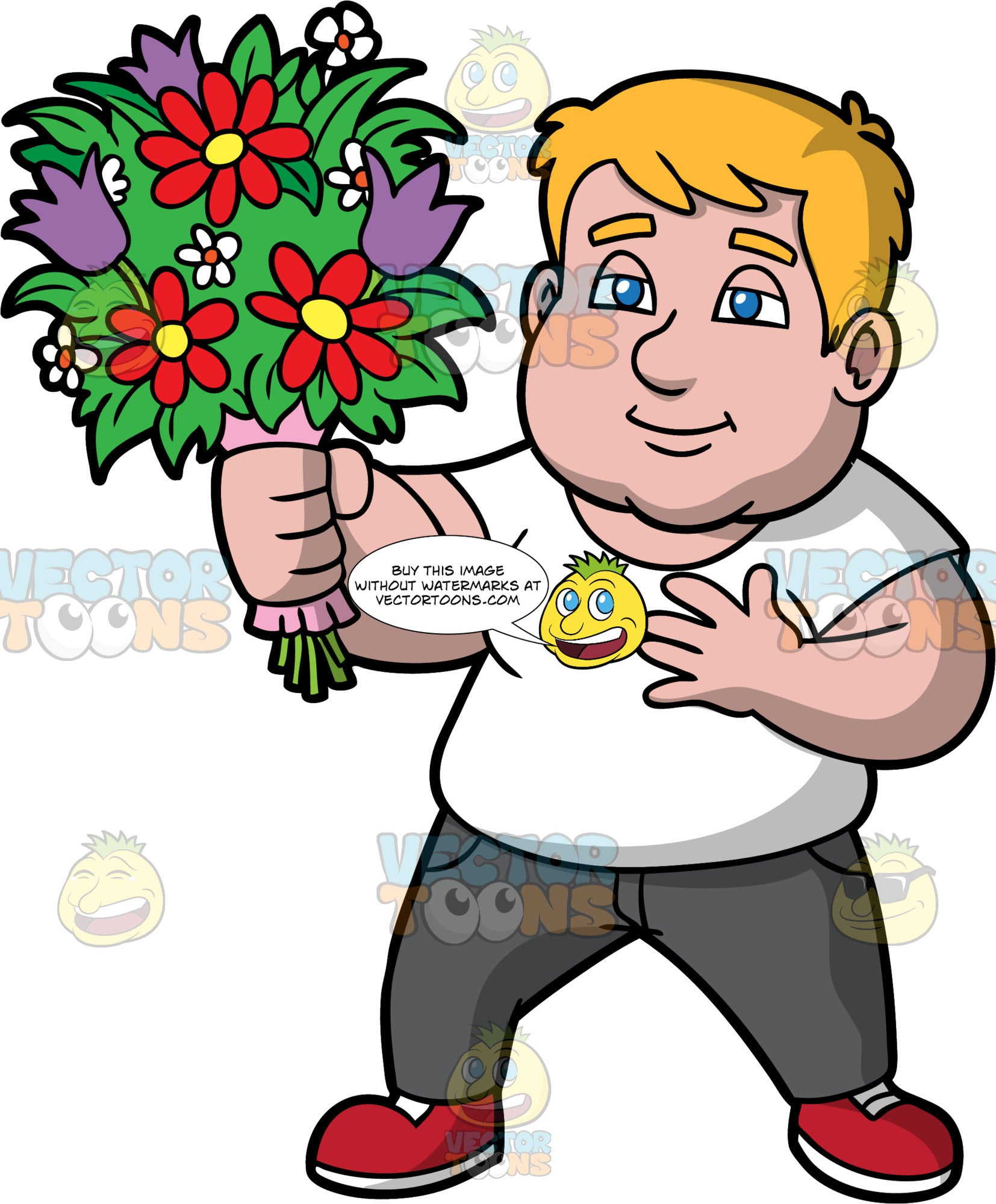 Sam Giving A Bouquet Of Flowers To Someone. A chubby man wearing dark gray jeans, a white t-shirt, and red shoes, holding one hand over his heart, and presenting a beautiful bouquet of flowers to someone with his other hand