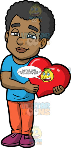 Jimmy Holding A Big Heart. A black man wearing orange pants, a blue t-shirt, and purple shoes, staring off into space and holding a large red heart in his hands