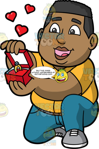 James Down On One Knee Proposing To Someone. A black man wearing blue jeans, a yellow shirt, and gray shoes, down on one knee presenting an open box with a diamond engagement ring inside it to someone