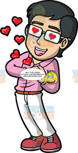 Simon Head Over Heels In Love. An Asian man wearing white pants, a pink shirt, and eyeglasses, standing and clasping his hands at his chests, and hearts in his eyes, and floating away from his body