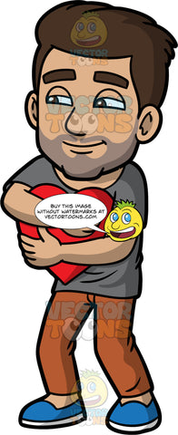 Gabriel Hugging A Heart. A Hispanic man wearing brown pants, a gray t-shirt, and blue shoes, standing and grinning while hugging a big red heart