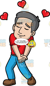 Bob Enamored With Someone. An older man with gray hair, wearing blue pants, a red golf shirt, and brown shoes, standing with his eyes closed, as he clasps his hands together at his side and hearts float above his head