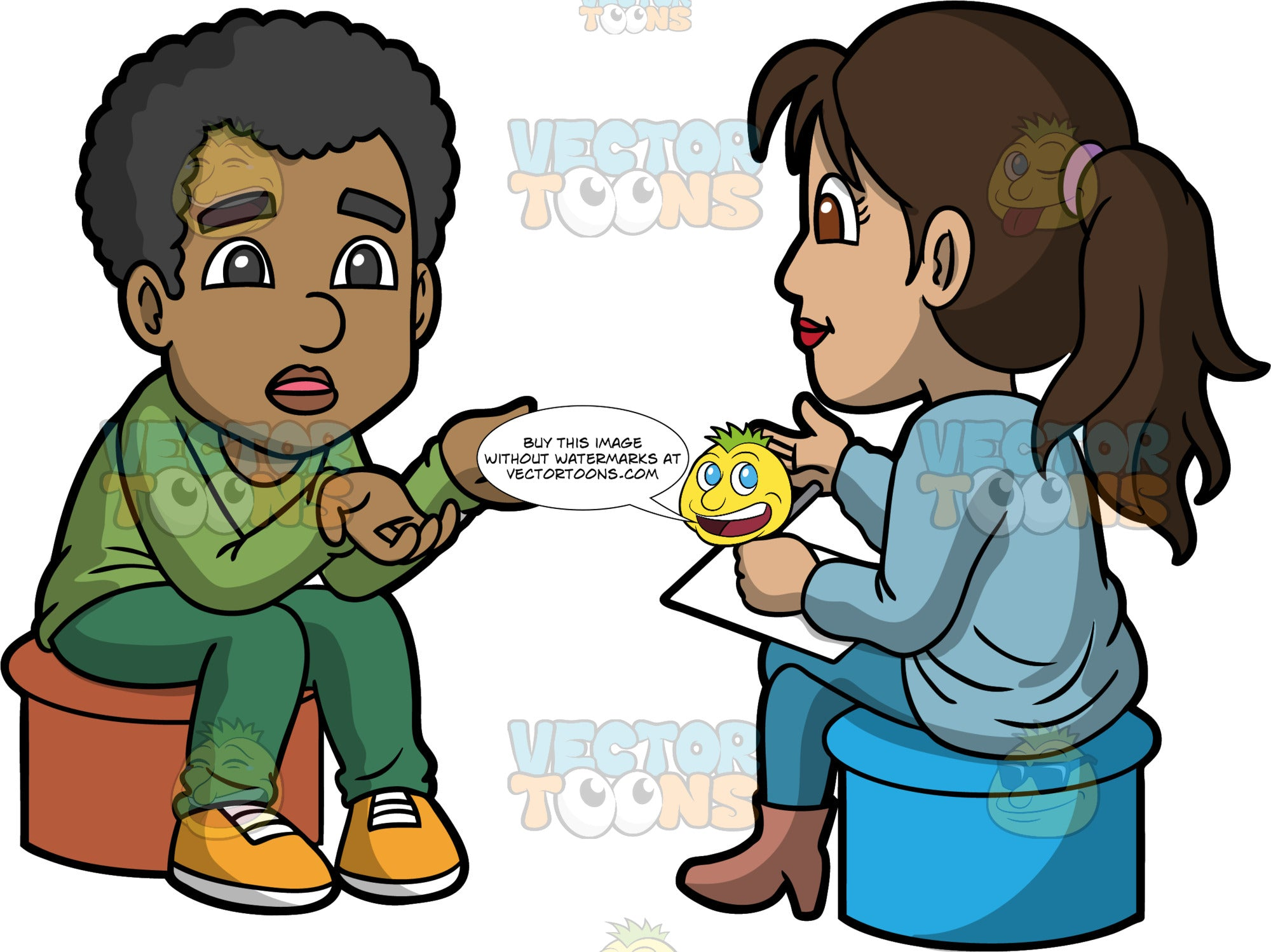 Jimmy Talking To A Counselor. A black man wearing green pants, a green long sleeve top, and yellow shoes sitting on a stool talking to a female therapist wearing blue pants, a light blue sweater and brown boots