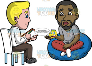 Calvin Talking To A Psychiatrist. A black man with a beard wearing burgundy pants and a gray shirt, sitting on a bean bag chair talking to a male psychiatrist wearing brown pants, a white shirt, and gray shoes