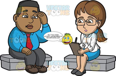 James Talking To A Counselor. A black man wearing gray pants, a blue shirt, a red tie, and brown shoes, sitting down and talking to a female therapist wearing a blue skirt, a white shirt, gray shoes, and eyeglasses