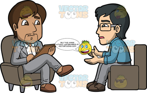 Simon Talking To A Psychologist. An Asian man wearing gray pants, a blue shirt, brown shoes, and eyeglasses, sitting in a chair talking to a male therapist wearing a light gray suit, white shirt, and brown shoes