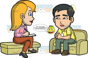 Kevin Speaking With A Psychologist. An Asian man wearing green pants, a yellow shirt, and brown shoes, sitting on a couch talking with a female psychologist wearing brown pants, a pink blouse, and gray shoes