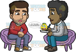 Gabriel Talking To A Therapist. A Hispanic man wearing blue gray pants, a long sleeve red shirt, and sneakers, sitting in a chair talking to a male therapist wearing blue pants, a gray sweater and brown shoes