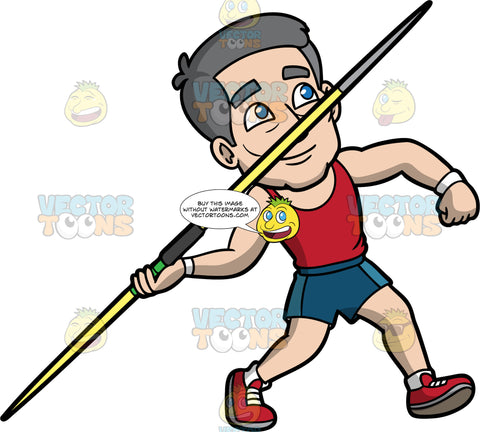 Bob Competing In The Javelin Throw. A mature man wearing blue shorts, a red tank top, and red running shoes, reaches his arm behind him and gets ready to throw a javelin