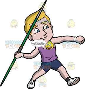 Matthew Getting Ready To Throw A Javelin. A man with dark blonde hair wearing dark blue shorts, a purple tank top, and white running shoes, gets ready to throw the green javelin in his hand