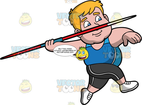 Sam Competing In A Javelin Throwing Contest. A chubby man wearing black pants, a blue tank top and white running shoes, runs and gets ready to throw a javelin in his hand