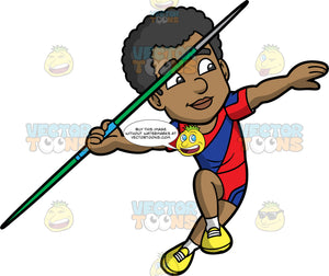 Jimmy About To Throw A Javelin. A black man wearing red and blue shorts, a red and blue shirt, and yellow running shoes, running and preparing to throw the javelin in his hand